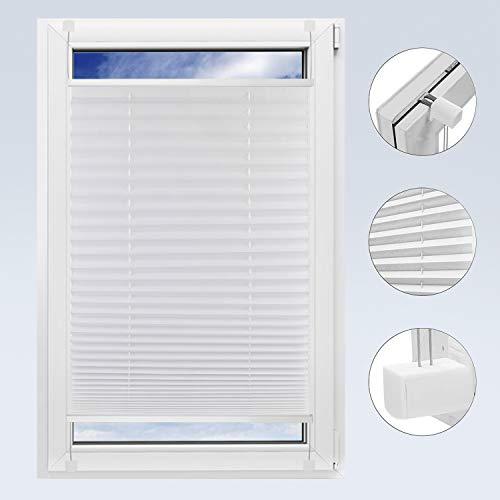 OBdeco Plissee Rollo Klemmfix ohner Bohren lichtdurchlässig Crushed Optik Faltrollo für Fenster Easyfix Weiß 95x130cm