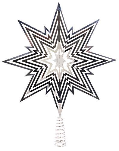Riffelmacher Christbaumspitze Metall Stern 33cm 17828 - Silber - Weihnachtsbaumspitze Weihnachten Heiligabend Baumdekoration