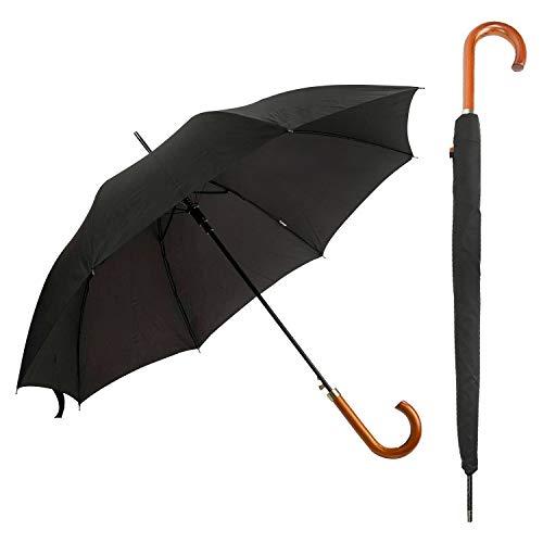 DUA Classic Herren Regenschirm mit Holzgriff, Hülle und starkem Fiberglas-Stiel, Schwarz