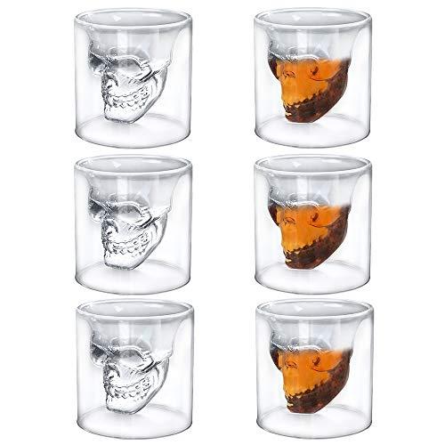 HEFUTE 6 Stück Totenkopf Gläser für Whisky, Schnapsgläser oder Wodka Schnapsgläser, 75 ml kreative Weinglas für Abendessen, Party, Bar