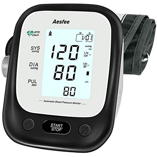 Blodtrycksmätare Övre arm för hemmabruk, Digital blodtrycksmanschettkit och pulsmätare Exakta automatiska BP-maskiner med bred manschett, Dual User-läge, Stor bakgrundsbelyst display