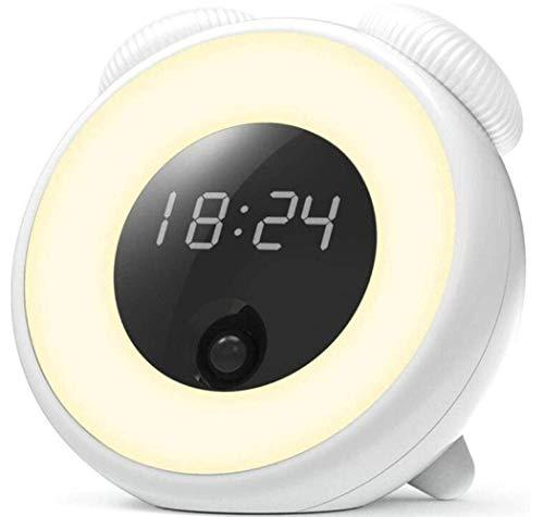 VIWIV Lámpara de escritorio Lámpara de escritorio Sunrise Reloj despertador Luz de puesta de sol Simulador Luz de noche, función de repetición y sensibilidad al tacto, blanco, A