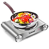 Techwood Hot Plate Electric Stove Electric Single Burner Portable Single Infrared Ceramic Burner Travel Countertop, Stainless Steel Indoor & Outdoor 1200W Adjustable Temperature Control Easy to Clean