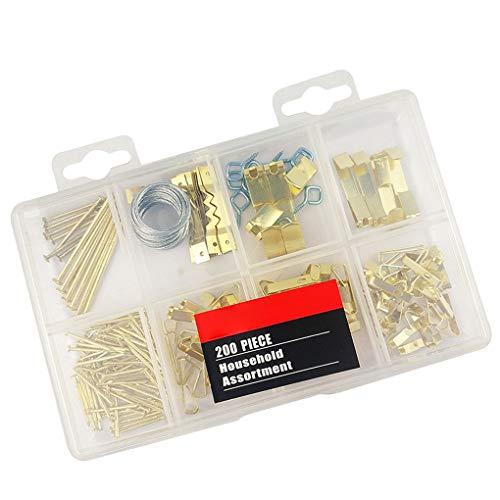 Topker 200pcs Bild Hanging Kit Bilderrahmen Wandmontage hängend Metall Haken Nagel Kleiderbügel Kit