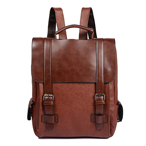 Vegan Leather Backpack Vintage Laptop Bookbag for Women Men Casual Daypack by Buenos Aire - brown - 11.02x3.93x12.59
