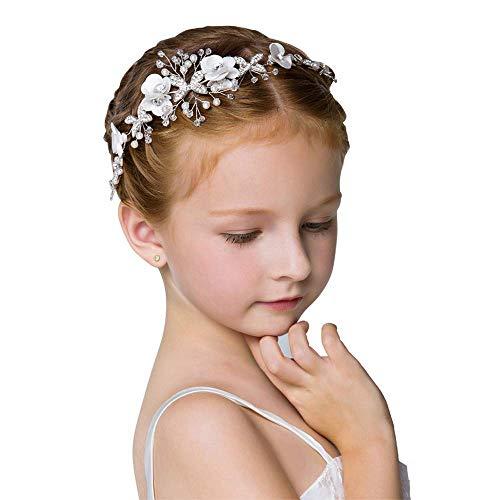 IYOU Prinzessin Weiße Blume Kopfschmuck Perlenhaar Kleid Kristall Braut Hochzeit Haarschmuck für Mädchen