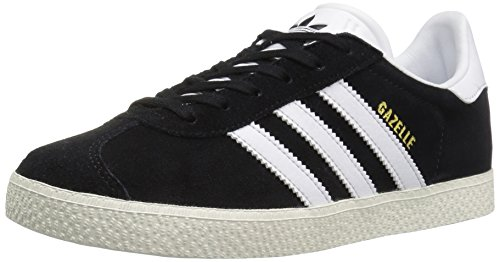adidas Originals Boys' Gazelle Sneaker, Black/White/Metallic Gold, 4.5 Medium US Big Kid