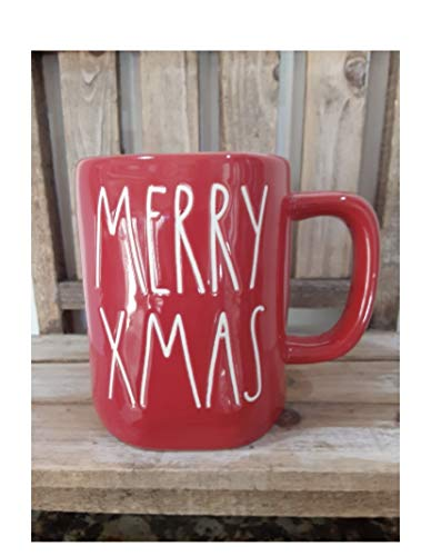 Rae Dunn MERRY XMAS Christmas Mug red with White Writing Large Letter