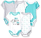 Quiltex Boys' Toddler Night Life Creeper Bodysuit Set 5 Pack, 3-6 Months