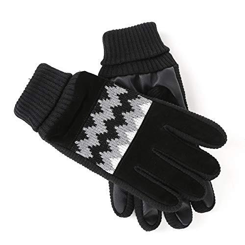 SPRRC Modelos de hombre de invierno algodón guantes de terciopelo guantes de cuero Plus otoño y engrosamiento guantes de cuero de invierno frío caliente Ciclismo Ing Senderismo paseos por la mañana gu