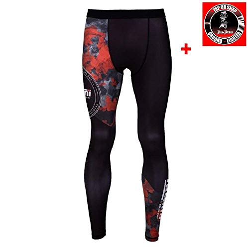 Tatami Compression Spats Renegade - Red Camo - MMA BJJ Grappling Fitness Sport Leggings Spats No Gi für Herren Kampfsporthose (L)