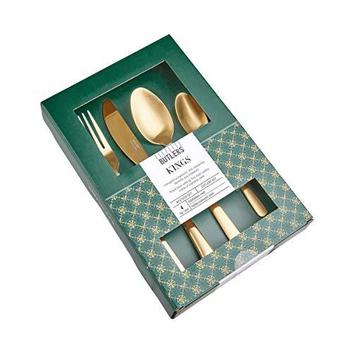 BUTLERS Kings Besteck 4er-Set - Hochwertige Besteckgarnitur, Gold - Besteckset aus Edelstahl mit Messer, Gabel, Löffeln