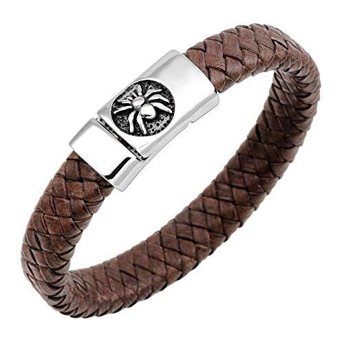 Pulseras de piel trenzada, pulsera de cuerda náutica, pulsera de acero inoxidable, piel de araña, pulsera marrón oscuro