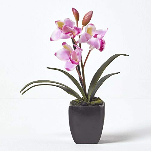 Homescapes Small Light Pink Artificial Orchid with Lifelike Silk Flowers and Realistic Long Green Leaves Oriental Cymbidium Flower in Square Black Planter Pot 38cm Tall for Indoor Decoration