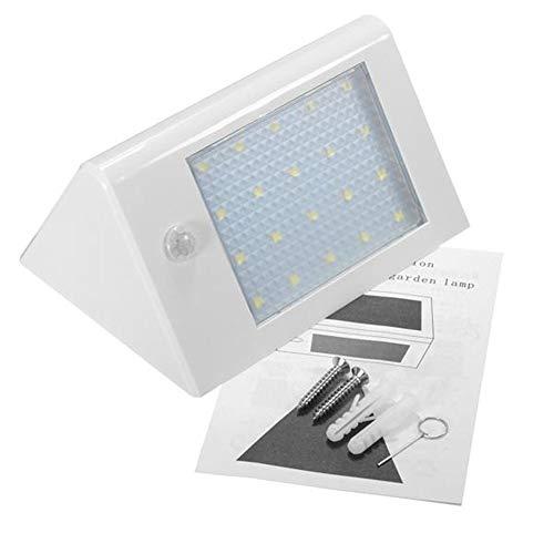 Wufajinwu Powerd Solar 20 del Sensor de Movimiento LED de luz de la Pared del jardín trayectoria al Aire Libre del Paisaje de la lámpara de LED (Color : Blanco)