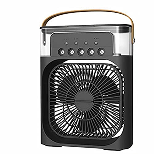 YUEXING Mini ventilador de escritorio portátil USB portátil con temporizador, difusor de aroma, 7 colores de luz LED, 5 aerosoles, 3 velocidades de viento para oficina, color negro