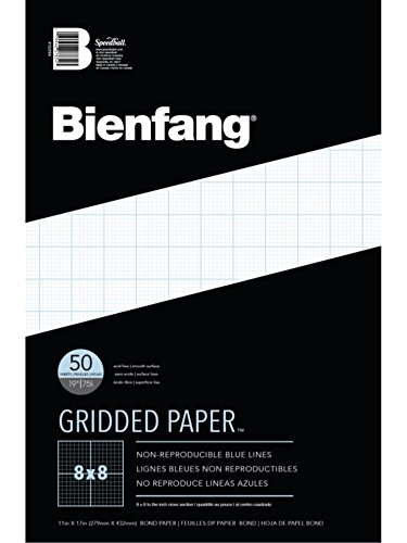 Bienfang Designer Grid Paper Pad, 8 x 8 Cross Section, 11-Inch by 17-Inch, 50 Sheets