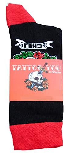 CHiLI Lifestyle Socks - Motivsocken Lustige Socken Bunte Socken Witzige Socken Verrückte Modische Ausgefallene Socken Mehrfarbige Socken Geschenk Baumwolle Strümpfe Coole Socken (Tattoo, 36-40)