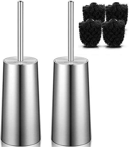 Homemaxs Toilet Brush and Holder,【2020 Newest】 Toilet Brush with Holder-Premium 304 Stainless Steel-Anti-Rust, Toilet Brushes 2 Pack with 4 Dense Black Brush Heads