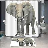 Baisheng Waterproof Mold Proof Resistant Bad Vorhang Waschbar Duschvorhang Polyester Stoff 3D Mehltau Beweis Vorhang mit Haken (Rosa Pfirsichblüte 1-59 * 70Inch/150 * 180cm)