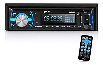 Pyle Marine Bluetooth Stereo Radio - 12v Single DIN Style Boat In dash Radio Receiver System with Built-in Mic Digital LCD RCA MP3 USB SD AM FM Radio - Remote Control - PLMRB29B  Black