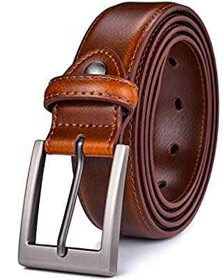 "Beltox Men's Leather Dress Belts with Prong Buckle 1.25"" Wide Waist Strap (Brown w Silver Buckle, 32-34)"