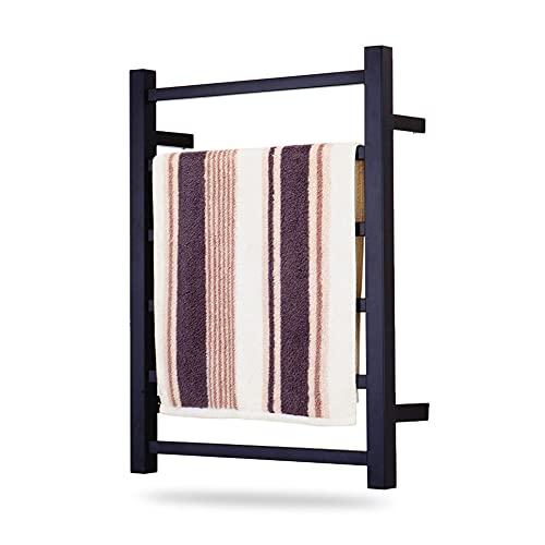 Toallero eléctrico negro, Calentador de toallas de lujo, Toallero eléctrico de acero inoxidable en aerosol Montado en la pared Toallero de baño, 23.6 * 17.7 * 4.7in, 200W