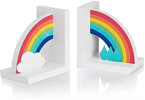 Organizador de escritorio, extremos de libros Sujetalibros de arcoíris Extremos de libros de madera Soportes para estantes Creatividad de trabajo pesado Tapón de libro de oficina Decoración de escrito