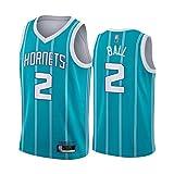 Hornets # 2 Ball Men's Basketball Jerseys - 2021 Temporada City Edition Uniform, Chaleco Deportivo al Aire Libre Malla Camiseta sin Mangas Blue-M