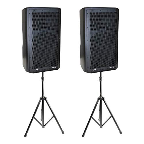 Peavey Dark Matter DM112 Pro DJ 2-Way Active PA Speaker + Tripod Stand (2 Pack)