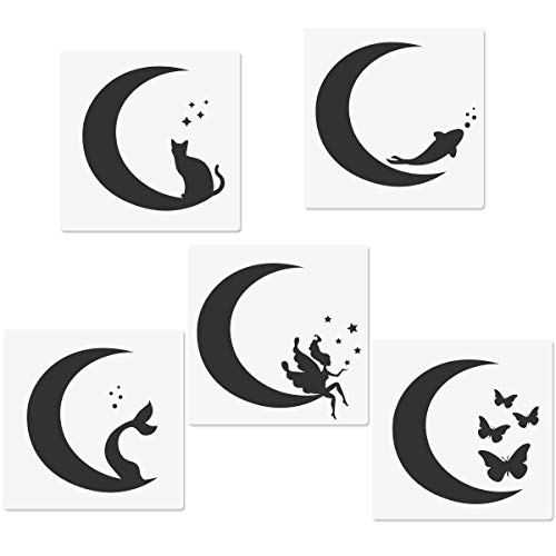 Crescents Moon Stencils, Moon Cat Moon Fairy Moon Fishtail Moon Butterfly Moon Fish Templates, 5.9x5.9' Reusable Templates for Arts Painting Card Making Journaling Scrapbooking DIY Furniture Decor