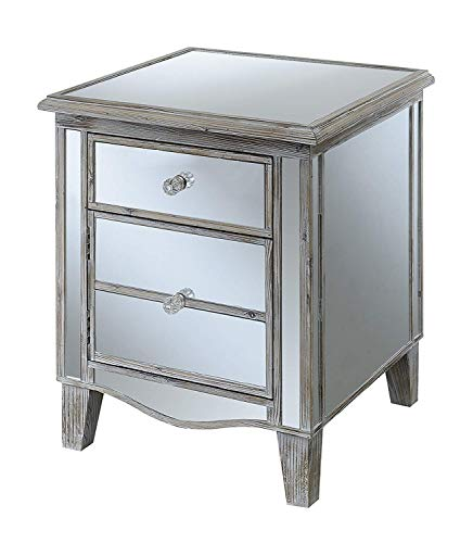 Convenience Concepts Gold Coast Park Lane Mirrored End Table, Weathered White / Mirror