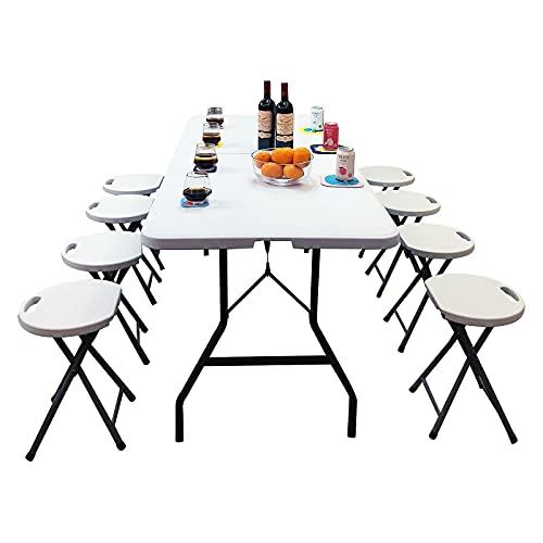ZCZZ Mesa Plegable de plástico Plegable de 6 pies para Camping, Picnic, jardín, Catering, Fiesta, Barbacoa, Puesto de Feria, Oficina en casa, con asa de Transporte para Interiores y Exteriores