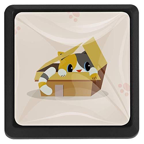 Vierkante ladeknoppen, 3 pakketten 37mm Trekhendels met kat in de doos 1, gebruikt voor slaapkamer dressoir kast keuken Modern design 37x25x17mm/1.45x0.98x0.66in Cat in the Box 4