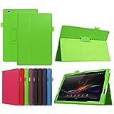 ソニーXperia Z4タブレットウルトラ10.1 SO-05G / au SOT31 / SGP771 / SGP712と互換性のある超スリムな高級フォリオスタンドスリープ/ウェイクアップレザーケースカバー +1xソフトクリアスクリーンプロテクター(2-Green)