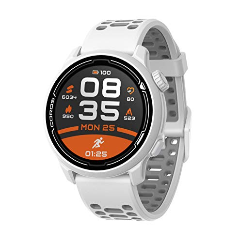 Coros PACE 2 Premium GPS reloj deportivo - Monitor de ritmo cardíaco, autonomía 30 horas, barómetro, ANT+ y Bluetooth, Strava, Stryd y TrainingPeaks (blanco – correa de silicona)
