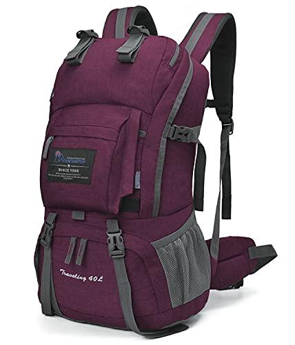 MOUNTAINTOP 40L Wanderrucksack Trekkingrucksack Damen Herren Outdoor Reiserucksack mit Regenhülle für Camping Klettern Wandern Sport (Fuchsia)