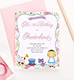 Personalized Alice in Onederland Birthday Invitations, Alice and Wonderland Birthday Invitations, First Birthday Invitations for Girls, Your choice of Quantity, Age, Info and Envelope Color