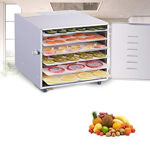 HIRAM 600W Essiccatore Frutta e Verdura 35L Essiccatori per Alimenti in Acciaio Inxo Professionale Dehydrator con 6 Cuscinetti in Silicone