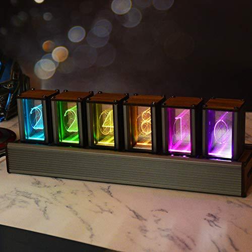 S SMAUTOP Orologio a Tubo Nixie Stili di Visualizzazione Multipli RGB LED Digitale Fai-da-Te USB Atmosfera Orologio a Tubo Luminoso,Regalo per Amante, Amico, Natale, Compleanno (Assemblato)