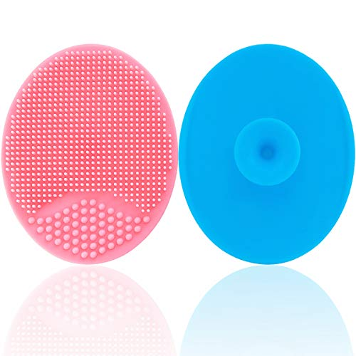 Baby Bath Silicone Cradle Cap Brush/Exfoliating and Massaging Brush/Soft Kids Washcloth (Blue + Pink)