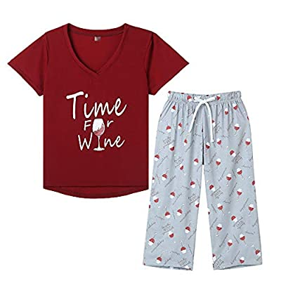 YIJIU Pajamas for Women Wine Glass Printed Sleepwear Two Piece Pajama Set, Red Wine, Large
