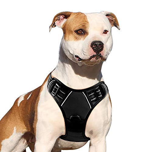 Eagloo Dog Harness No Pull, Walking Pet Harness with 2 Metal Rings and Handle Adjustable Reflective Breathable Oxford Soft Vest Easy Control Front Clip Harness Outdoor for Medium Dogs Black