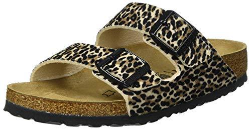 BIRKENSTOCK Damen Arizona Textile Leopard Lilly Brown Beige Sandale, 39 EU