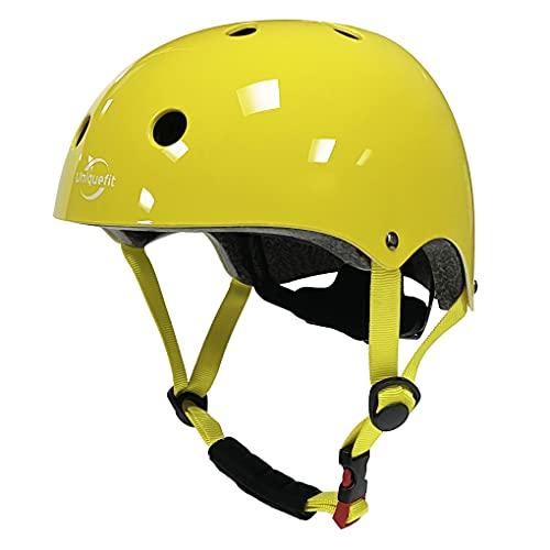 UniqueFit Cascos de skate Cascos de skate Cascos al aire libre Cascos de bicicleta (amarillo)