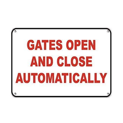 Vivityobert Sicherheitsschild für Türen öffnen und schließen automatisch, aus Metall, Warnschild, Gefahrenschild, Sicherheitshinweis, Hinweisschild, für Haus, Wanddekoration, 8 x 12 cm