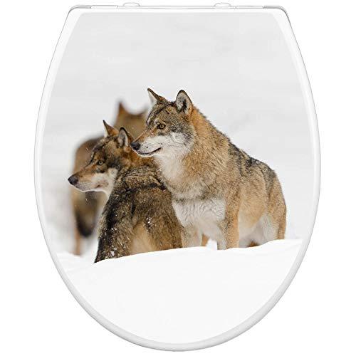 banjado Toilettendeckel Holz | WC Sitz weiß 42cm x 3,5cm x 37cm | Klodeckel aus MDF weiß | Klobrille mit Edelstahl Scharnieren | Toilettensitz mit Motiv Wölfe