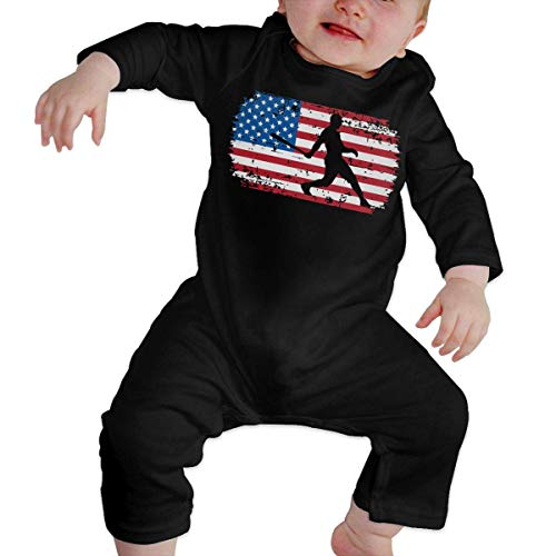 SDLZIJFGHBC Baseball Hitter Bat Distressed American Flag Baby Boy Girl Long Sleeve Bodysuit Infant Romper Jumpsuit 2T