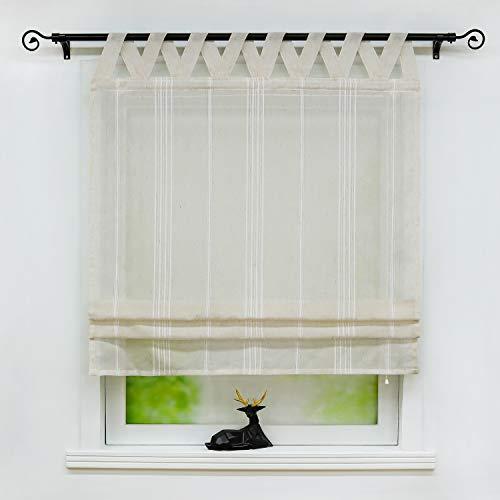 Joyswahl Raffrollo halbtransparentes Unifarbiges Bändchenrollo mit Längsstreifen »Thea« Schals mit Schlaufen Fenster Vorhänge BxH 80x140cm Taupe 1er Pack