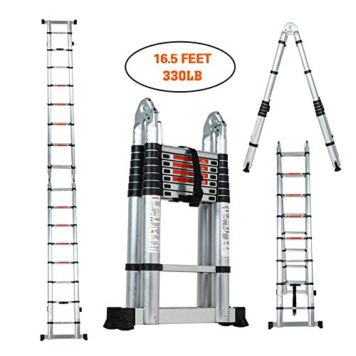 SUNCOO Multi-Position Ladders, 2.8-16.5Ft. Extension Ladder, Lightweight Aluminum Telescoping Ladders, Easy Retraction Anti-Slip Telescopic Extendable Climb Attic Ladder with 330 lbs Weight Rating